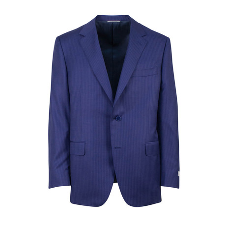 Striped Wool 2 Button Classic Fit Suit // Blue (US: 46S)