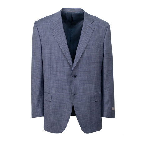 Plaid Wool 2 Button Suit // Slate Blue (US: 46S)