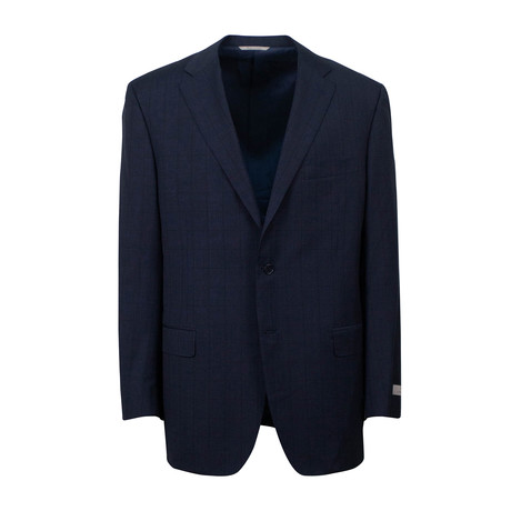 Plaid Wool 2 Button Suit // Dark Navy Blue (US: 46S)