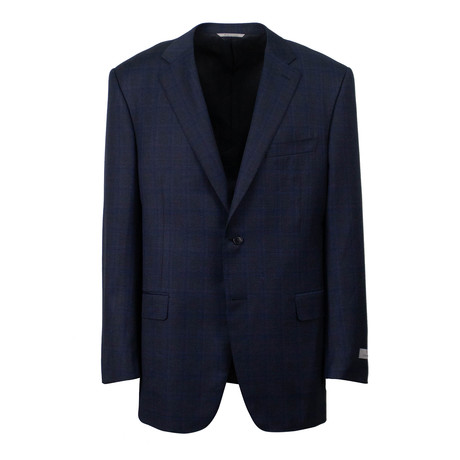 Plaid Wool 2 Button Suit  // Blue (US: 46S)