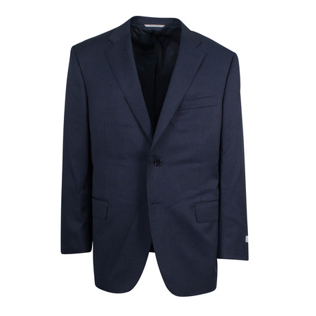 Striped Wool 2 Button Suit // Blue // Blue (US: 46S)