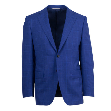 Windowpane Wool 2 Button Suit  // Blue (US: 46S)