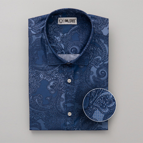 Hammond All-Over Printed Slim Fit Button Up Shirt // Blue (S)