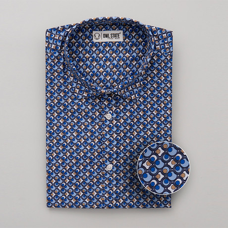 Wilkerson All-Over Printed Slim Fit Button Up Shirt // Blue (S)