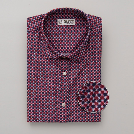 Cowan All-Over Printed Slim Fit Button Up Shirt // Red (S)