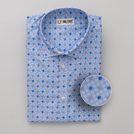 Lopez All-Over Printed Slim Fit Button Up Shirt // Blue (S)