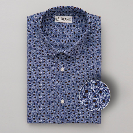 Hughes All-Over Printed Slim Fit Button Up Shirt // Blue (S)