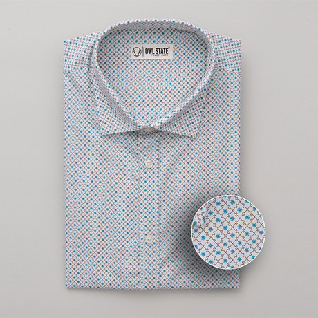 Thompson All-Over Printed Slim Fit Button Up Shirt // Multicolor (S)