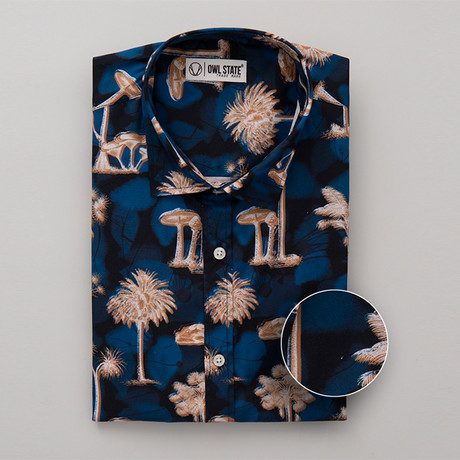 Oneal All-Over Printed Slim Fit Button Up Shirt // Blue + Tan (S)