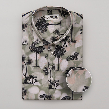 Mora All-Over Printed Slim Fit Button Up Shirt // Green + Black + White (S)