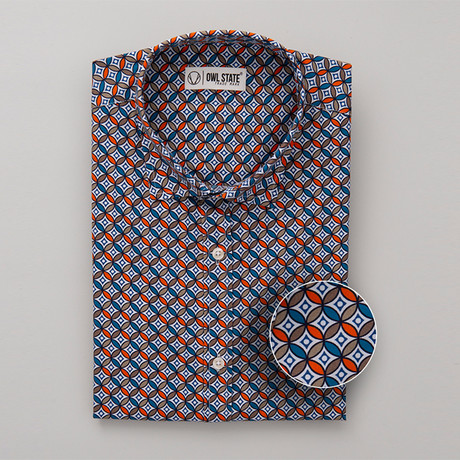 Mcdonald All-Over Printed Slim Fit Button Up Shirt // Orange + Brown + Blue (S)