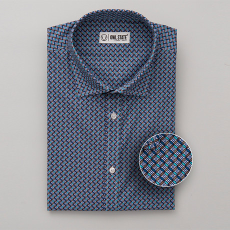 Burns All-Over Printed Slim Fit Button Up Shirt // Blue + Brown (S)