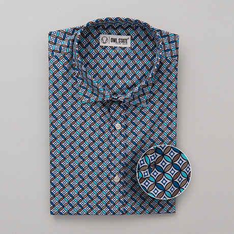 Bullock All-Over Printed Slim Fit Button Up Shirt // Blue + Brown (S)