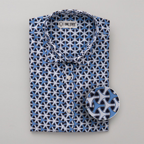 Calhoun All-Over Printed Slim Fit Button Up Shirt // Blue + White (S)