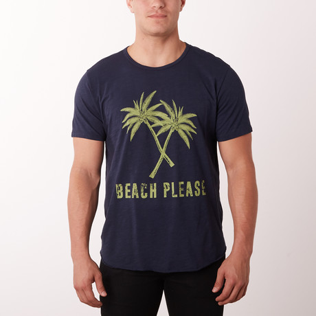 Beach Please Graphic Tee // Navy (S)