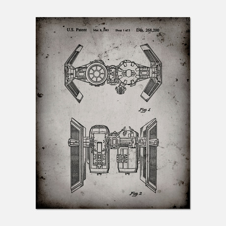 "Tie Fighter Ship Patent Print // PP0102 (11""W x 14""H)"