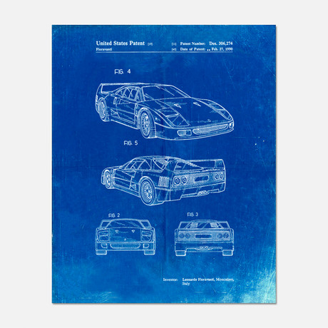 "Sports Car Patent Print // PP0108 (11""W x 14""H)"