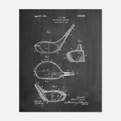 "Golf Wedge Patent Print // PP0009 (11""W x 14""H)"