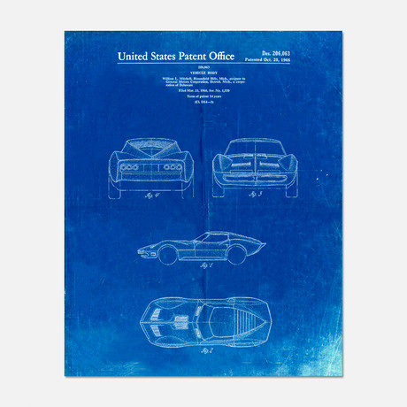"Sports Car Patent Print // PP0339 (11""W x 14""H)"