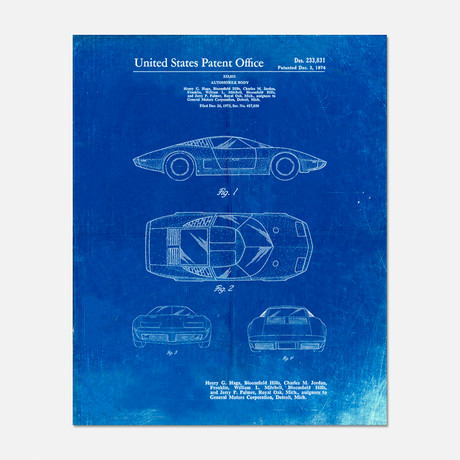 "Sports Car Patent Print // PP0399 (11""W x 14""H)"
