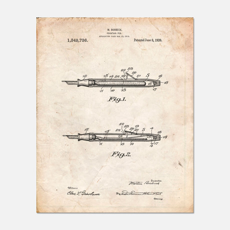 "Fountain Pen Patent Print // PP0486 (11""W x 14""H)"