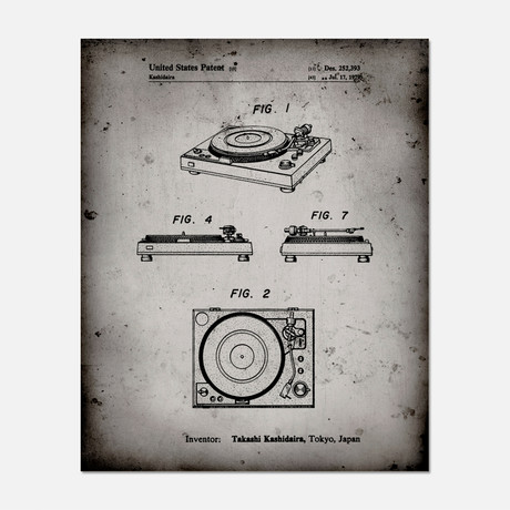 "Record Player Patent Print // PP1028 (11""W x 14""H)"