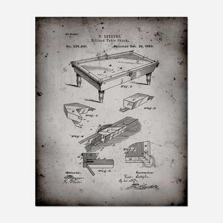 "Billiard Table Patent Print // PP1325 (11""W x 14""H)"