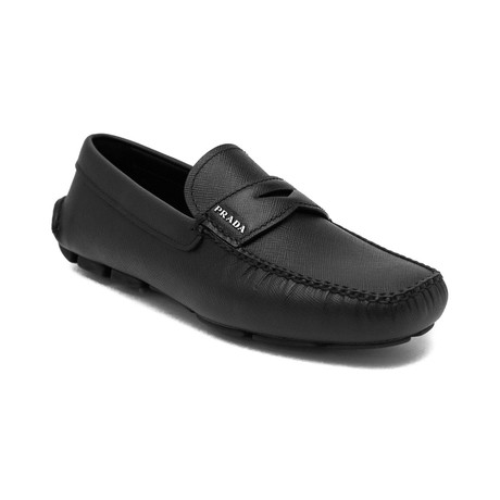 Prada // Saffiano Leather Penny Loafer Shoes // Black (US 7)