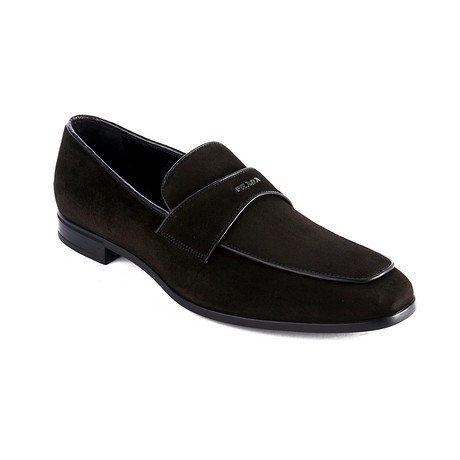 Prada // Vitello Leather Suede Loafer Shoes // Black (US 7)