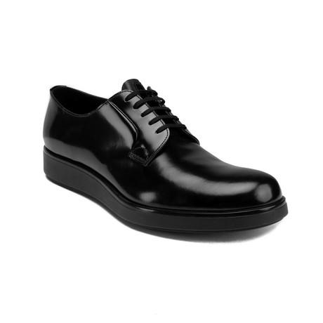 Prada // Brushed Leather Derby Oxford Dress Shoes // Black (US 8)