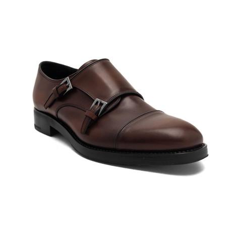 Prada // Men's Leather Double Monk strap Dress Shoes // Brown (US 7)