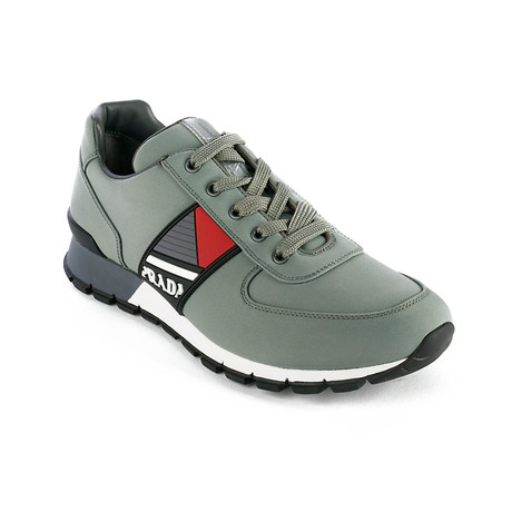 Prada // Men's Leather Fabric Low Top Sneaker Shoes // Olive Green (US: 5)