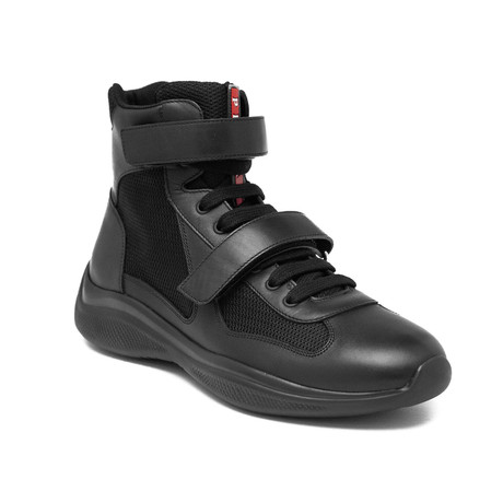 Prada // Men's Leather Mesh High Top Sneaker Shoes // Black (US 10)