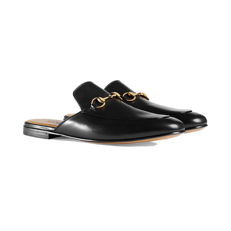 Gucci // Leather Horsebit Slipper Loafer Shoes // Black (US 7)
