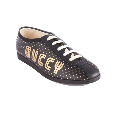 Gucci // GUCCY Falacer Sneaker // Black + Gold (US 6)