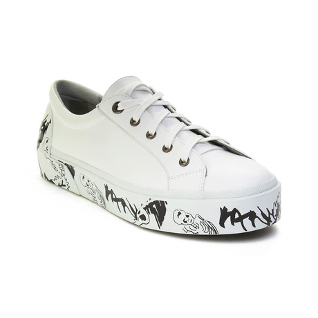 Lanvin // Leather Graffiti-Sole Derby Sneakers // White (US 6)