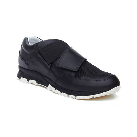 Lanvin // Leather Crossover Strap Sneakers // Black (US 6)