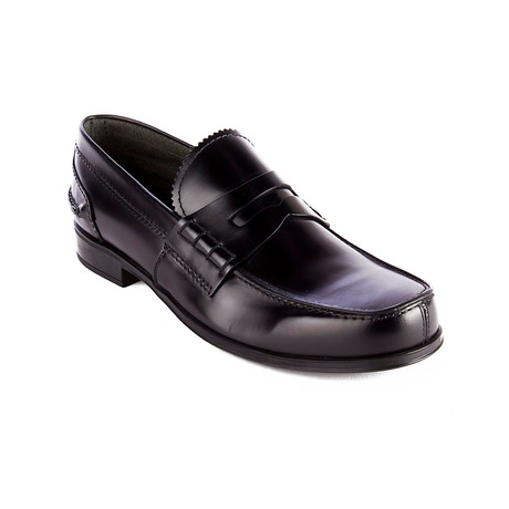 Prada // Brushed Leather Moccasin Loafer Shoes // Black (US: 9)