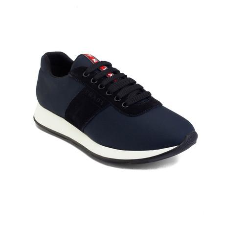 Prada // Suede Nylon Low-Top Sneakers // Blue (US 6)