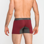 Boxer Briefs // Burgundy + Heather Charcoal Gray (M)