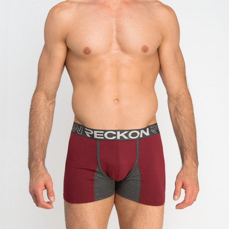 Boxer Briefs // Burgundy + Heather Charcoal Gray (S)