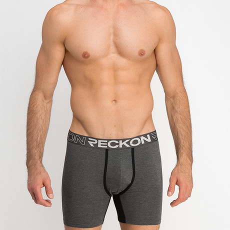 Mid-Rise Boxers // Heather Charcoal Gray + Black (S)