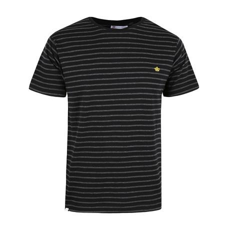 Crown-Striped T-Shirt // Black + Charcoal (S)