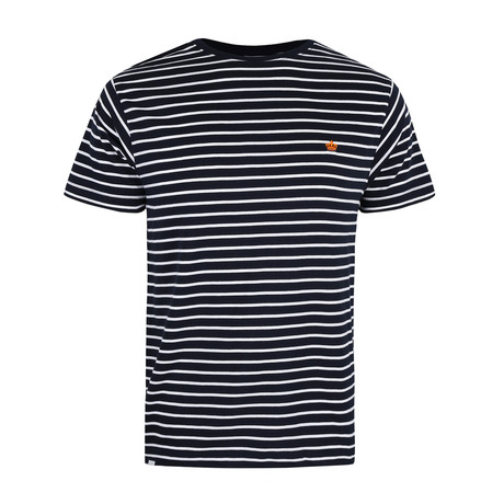 Crown-Striped T-Shirt // Navy + White (S)
