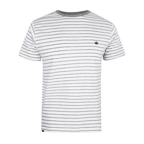Crown-Striped T-Shirt // White + Gray (S)