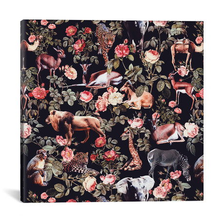 "Animals And Floral Pattern // Burcu Korkmazyurek (18""W x 18""H x 0.75""D)"