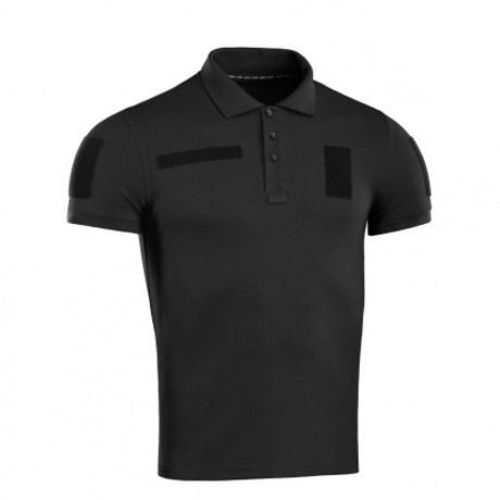 Cotton Blend Patch Polo // Black (XS)
