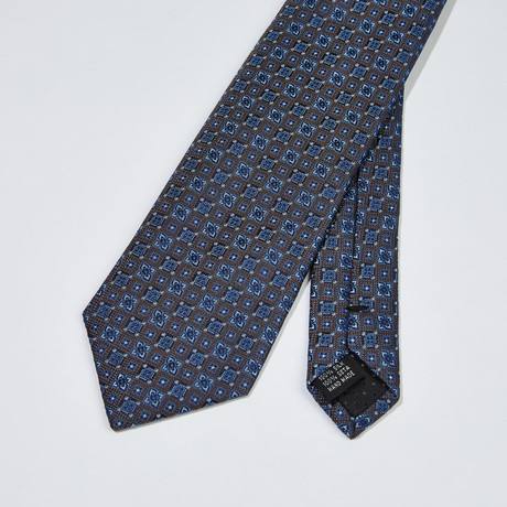 Patterned Silk Tie // Gray + Blue