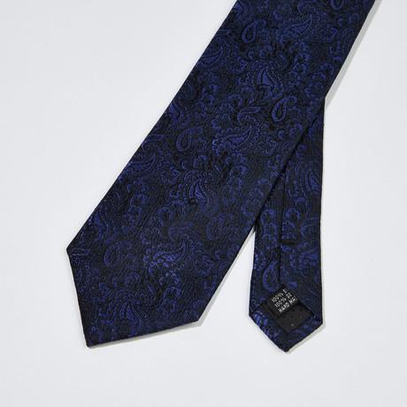 Paisley Silk Tie // Black + Blue