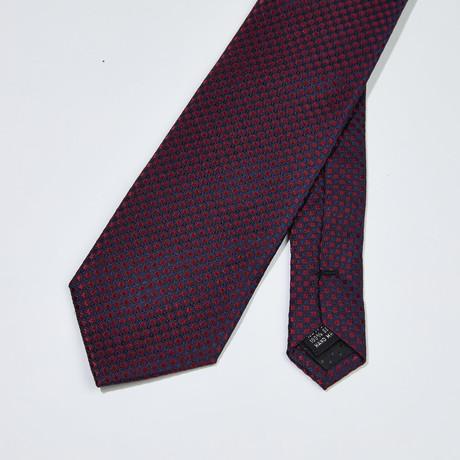 Checkered Patter Silk Tie // Navy + Burgundy